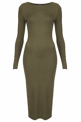 Brand New Topshop Olive Green Midi Bodycon Long Sleeve Dress rrp.£30