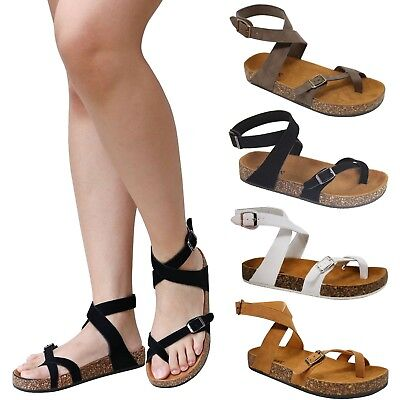 414b4d9df4 New Women A61 Toe Ring Cork Platform Slippers Ankle Strap Sandals Slides 5  to 11