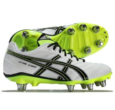 Asics Lethal Scrum SG Rugby Boots White/Flash Yellow/Black Size UK 7.5 RRP £66