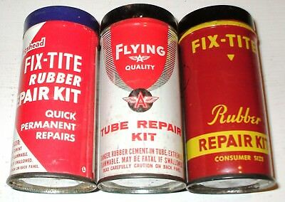 Vintage Flying A, Hollinhshead, & Fix-Tite Inner Tube Repair Cans -3 Piece Lot