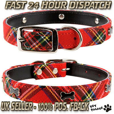 "Pet Palace Red or Blue Tartan ""Scottie Dog"" Leather & Plaid Luxury Dog Collar"