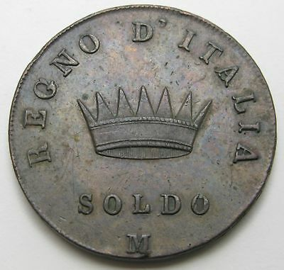 KINGDOM of NAPOLEON (Italian State) 1 Soldo 1809 M - Copper - Napoleon I. - 3375