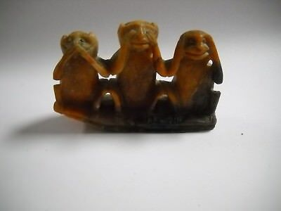 Vintage Soapstone Carved 3 Monkeys See No Evil, Hear No Evil, Speak No Evil