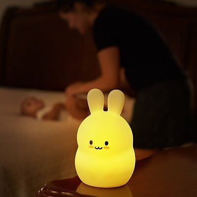 Rechargeable LED Bunny Night Light Lamp Handheld Portable for Kids Room Nursery