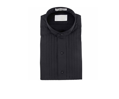Nice Black  Mandarin Banded Chinese collar Pleated Tuxedo Shirt TUXXMAN