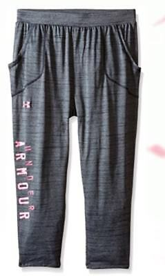 $40 Under Armour Girls Tech Capri Pants Gray/Pink Size YLG Youth Large HEAT GEAR