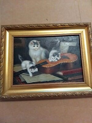 Vintage oil painting on board kittens playing
