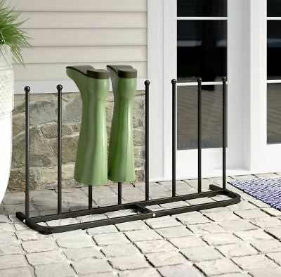 4 Pair Black Paint-Coated Boot Shoe Rack Welly Holder Stand Storage Organizer