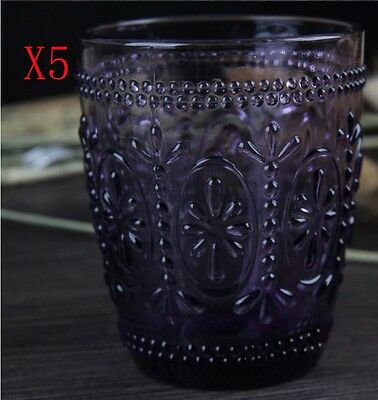 New 5X Capacity 300ML Height 100MM Retro Creative Purple Wine Glass/Glassware %