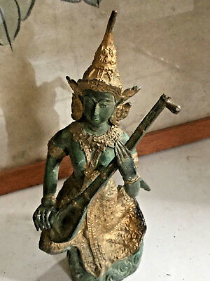 Vintage Cast Bronzed Thai Figure Musician Zueng Green Filigree Gilt Gold 19cms