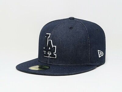 New Era 59Fifty Men Women Los Angeles Dodgers Navy Blue Denim Fitted Hat Cap