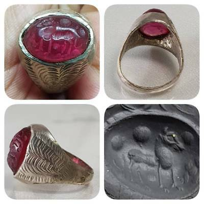 Stunning Lovely Old intaglio Amethyest Horse Ring   # G1