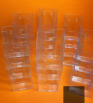 Lot of 6 Lucite PLASTIC Brochure Literature Holders DISPLAY Rack 4 Tier CLEAN
