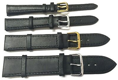 8mm - 24mm GENUINE QUALITY SOFT LEATHER BLACK PLAIN WATCH STRAP BAND with PINS