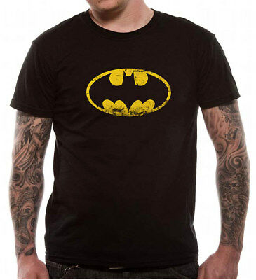 Batman Shield Distressed Logo T Shirt Official DC Comics Black  S M L XL XXL