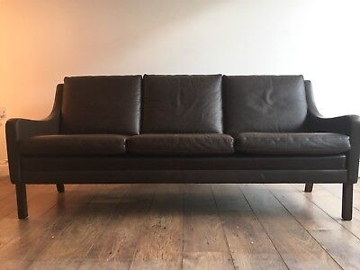 Vintage Retro Mid Century Danish Leather Rosewood Three Seater Sofa 1960s