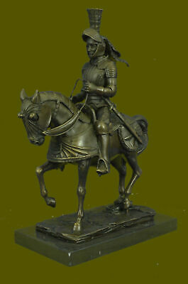 Hand Made Sculpture Middle Ages Knight Warrior Soldier Ride Horse Bronze Statue
