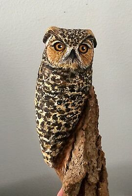 WOOD Carved Big Great Horned Owl Wall Hang Lisa Rogers Carving