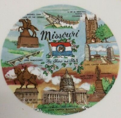 Vintage Missouri The Show Me State Gold Trim Yellow Souvenir Collector Plate