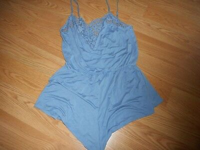 Victoria's Secret Size X-Small Blue With Blue Lace Sleep Romper Teddy New!