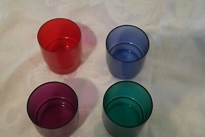 4 Vintage TUPPERWARE Acrylic STACKING TUMBLERS #1672 ~ Blue Green Red Purple