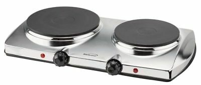 BRAND NEW Brentwood TS-372 Electric Twin Burner - Chrome, Stainless Steel