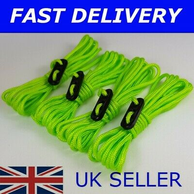 X4 FLUORESCENT Guy Line Ropes Tent Camping ideal for Reading and Leeds festival