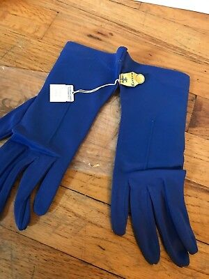 Vtg Kayser BLUE Nylon Gloves SZ 7 NEW WITH TAGS Wedding Prom Cosplay