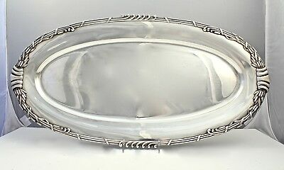 Large Heavy Dutch Art Nouveau Sterling Silver Fish Tray w Cattails by Saakes SL
