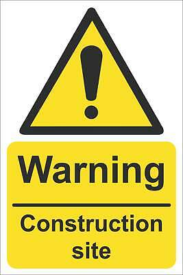 Warning Construction site Sign, Self Adhesive Vinyl, 1mm PVC, 5mm Correx Board