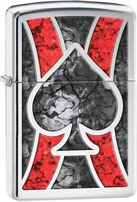 """Zippo """"Ace of Spades-Stained Glass"""" High Polish Chrome Lighter, Full Size, 28952"""