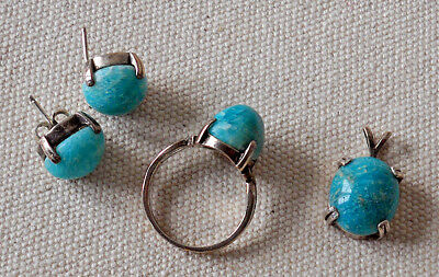 Sterling Silver 925 Turquoise Ring Earrings & Pendant Western Americana 4 Piece