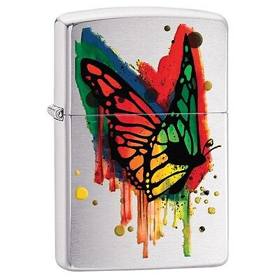 "Zippo ""Color Drip Butterfly"" Brushed Chrome Finish Lighter, Full Size, 29392"