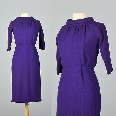 S 1950s Purple Wool Pencil Dress Classic Casual Simple Day Wear Autumn 50s VTG