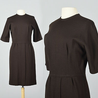 L 1950s Brown Knit Pencil Dress Casual Day Wear Classic Style 50s VTG