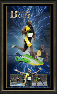 Usain Bolt HAND Signed running shoe spike framed + Certificate Of Authenticity