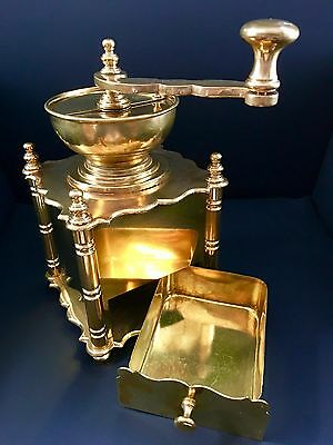Very Vintage Ornate European Style Shiny 100% Brass 4 Column Coffee Mill/Grinder