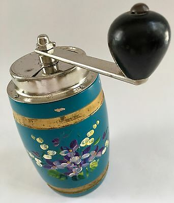 Vintage/Antique UK English Barrel-Shaped Floral Painted Wood Coffee Mill/Grinder