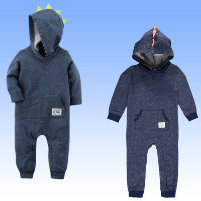 e86a6f92544 NWT Carter s Baby Boys  One Piece French Terry Hooded Jumpsuit Romper 1  Piece