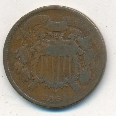 1864 Two Cent Piece Small Motto Variety -Scarce Variety- Shipping Is Free!