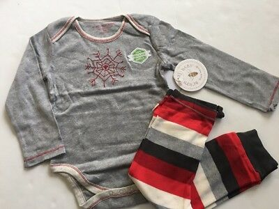 Burts Bees Baby Boy Girl Bodysuit Pants Size 24 Months Grey Red Striped