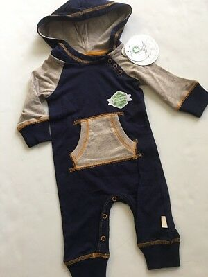 Burts Bees Baby Boy Hooded Raglan Coverall Size 3 6 9 Months Navy Blue Oatmeal
