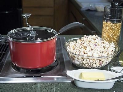 Jumbo Stovetop Popcorn 3.8 Litre Non-stick  Machine Pan Maker Red