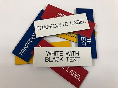 Engraved Traffolyte Labels, WHITE with BLACK TEXT, Multiple Sizes and Options