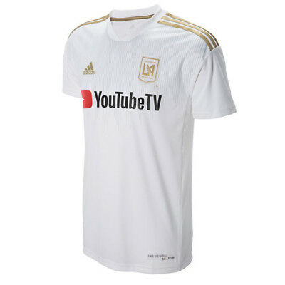 01bed0d8f50 ADIDAS MEN S LAFC 18 19 Authentic Away Jersey White Gold CT1335 ...