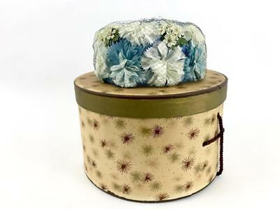 Vtg Young Ladies Petite / Girl's Blue Flowers Floral Net Theatrical DRESS HAT