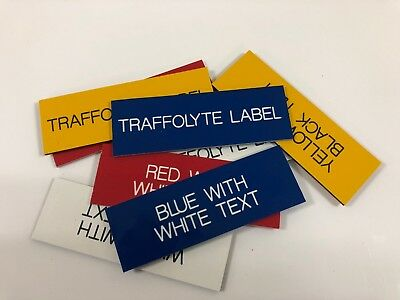 Engraved Traffolyte Labels, BLUE with WHITE TEXT, Multiple Sizes and Options