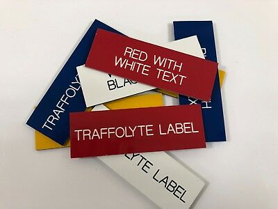 Engraved Traffolyte Labels, RED with WHITE TEXT, Multiple Sizes and Options