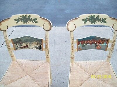 Hitchcock Stenciled Christmas Chairs Circa 1986 and 1991 ~ Exquisite Pieces!