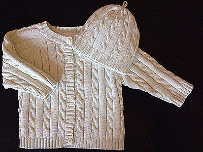 Elegant Baby Cardigan Sweater & Cap New 3-6 Months Light Green